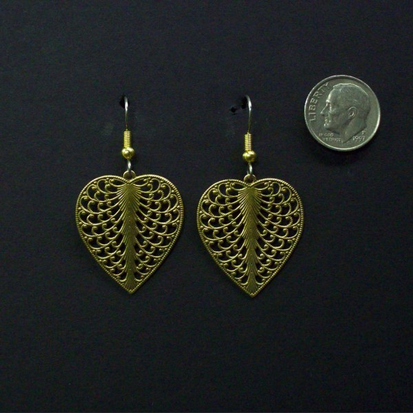 Small Domed 6 Tear Filigree Earrings. Made of hand finished brass.