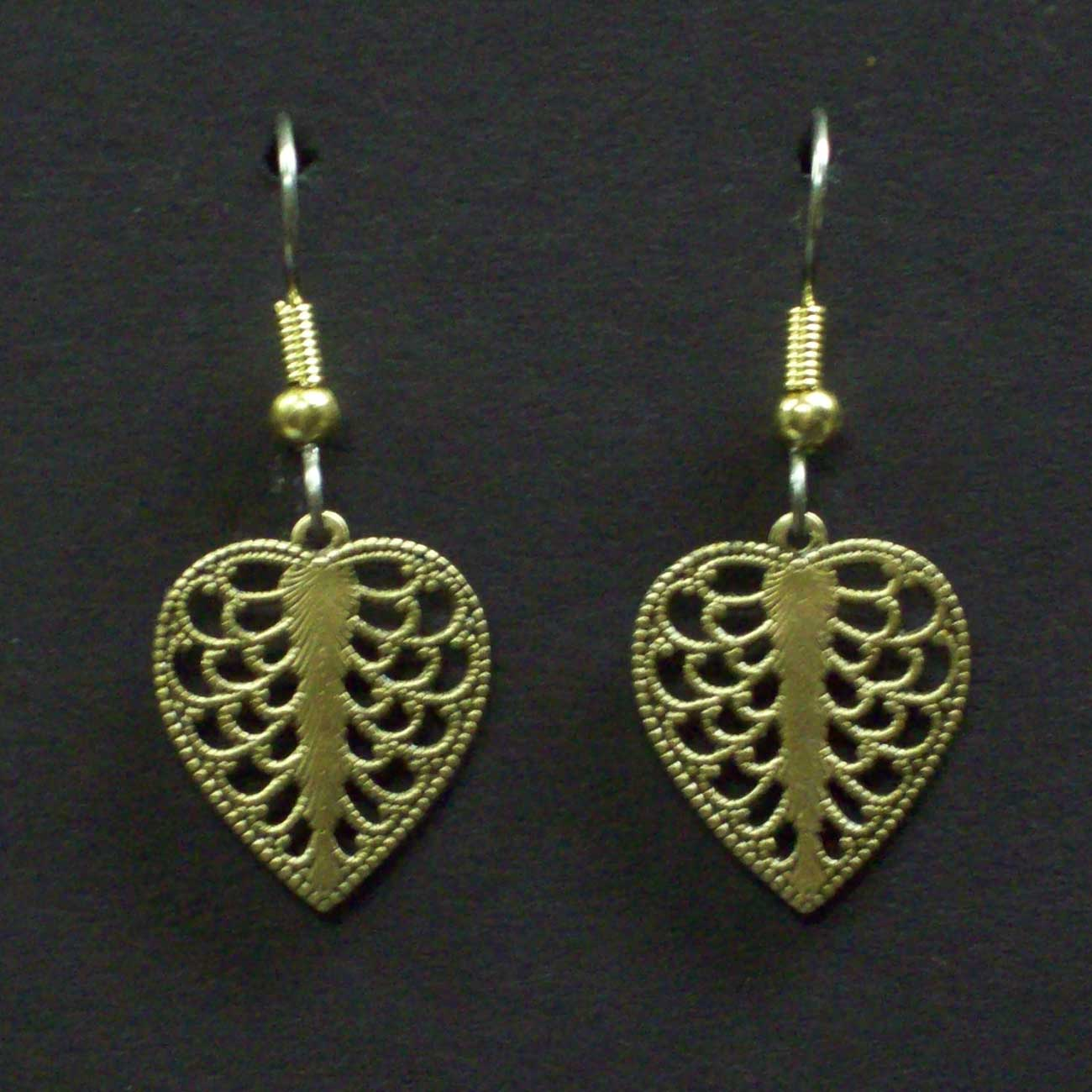 Small Filigree Heart Earrings