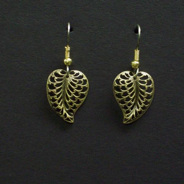 Small Domed Filigree Heart Earrings