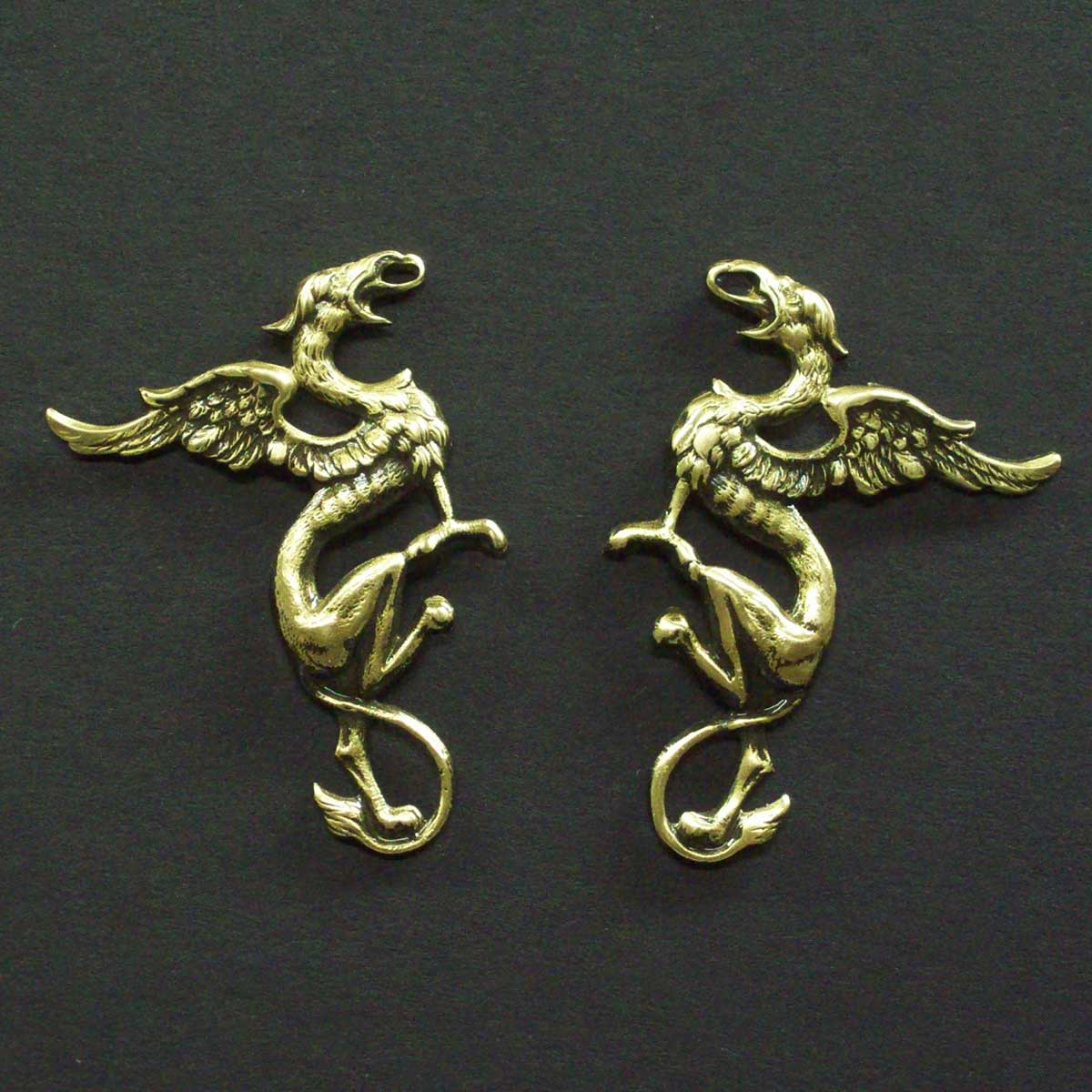Tall Dragon Earrings Post