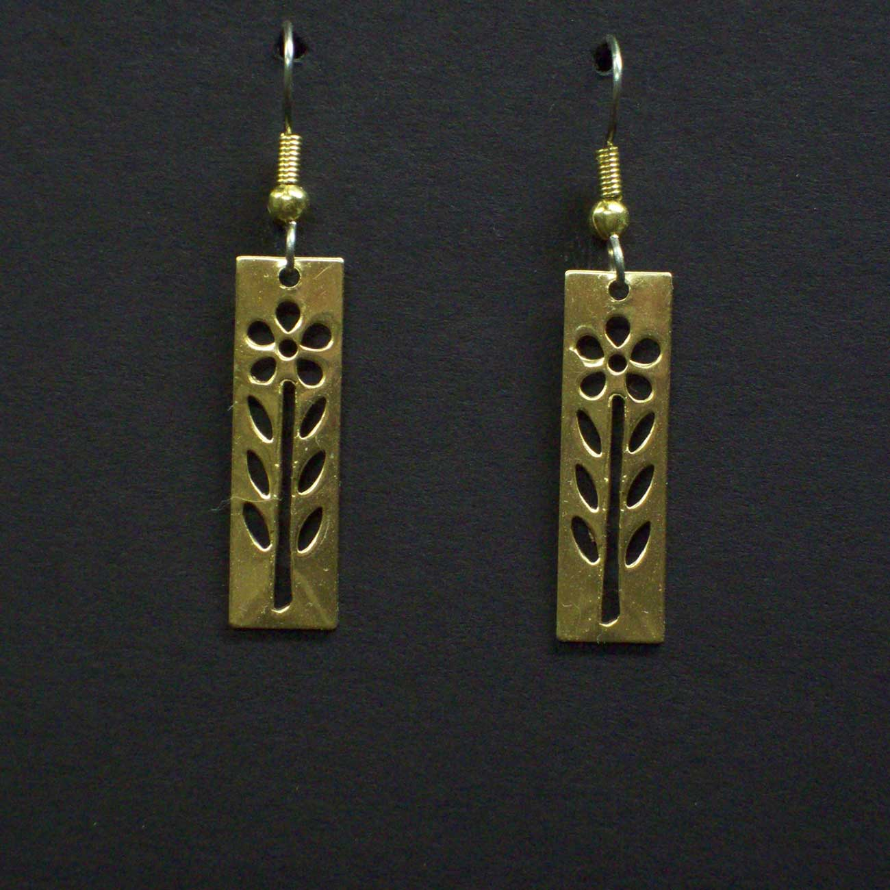 Small Cut Out Flower Rectangular Earrings