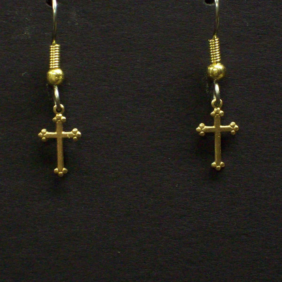 Tiny Cross Dangle Earrings