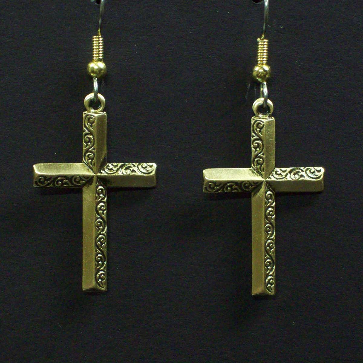 Medium Half Embossed Cross Earrings