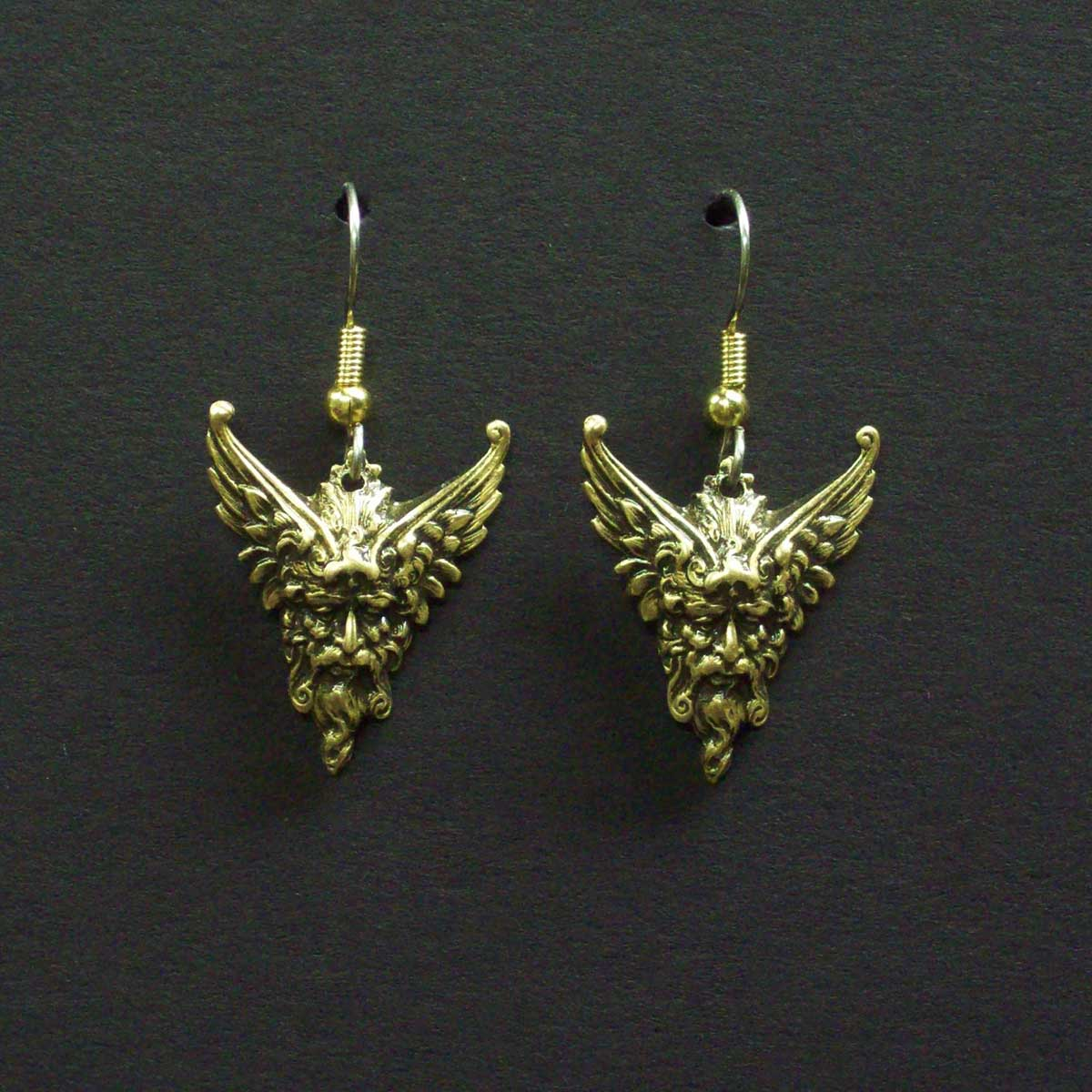 Winged Man's Head Dangle Earrings