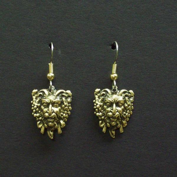 Winged Man's Head Dangle Earrings