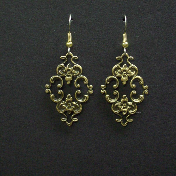 Ornate Victorian Floral Scroll Earrings