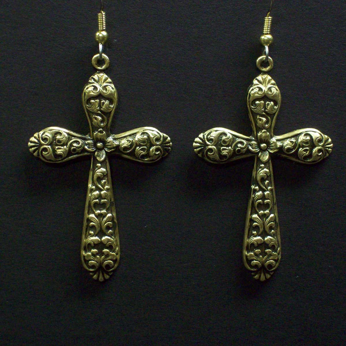 Large Rounded Floral Cross Earrings