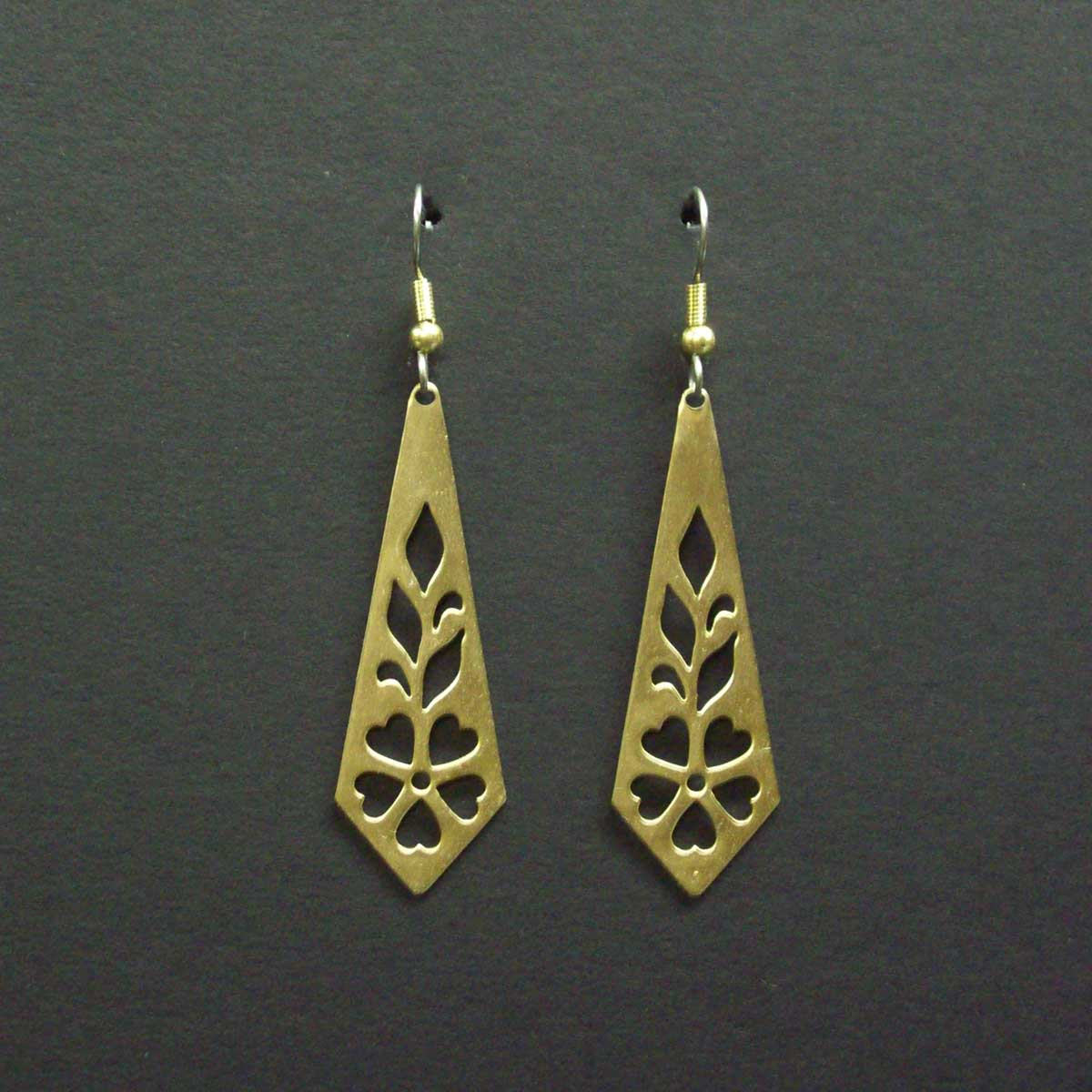 Long Cut Out Pattern Earrings