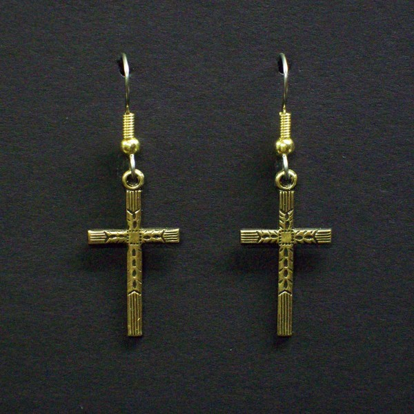 Medium Embossed Cross Earrings