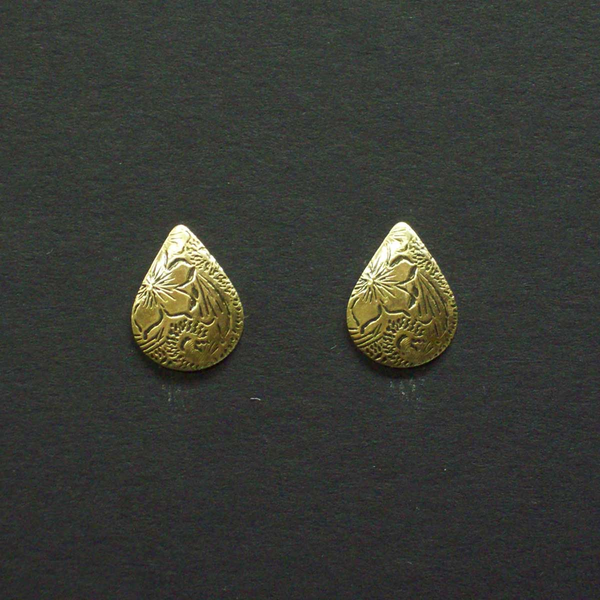 Small Engraved Circle Post Earrings