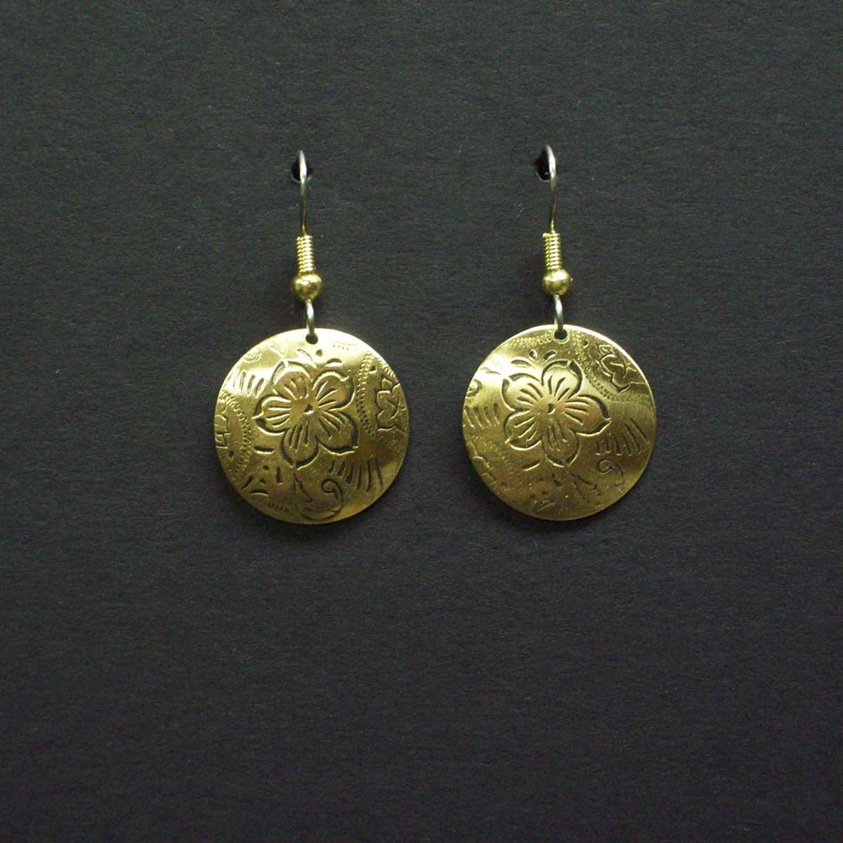 Small Engraved Oval Post Earrings