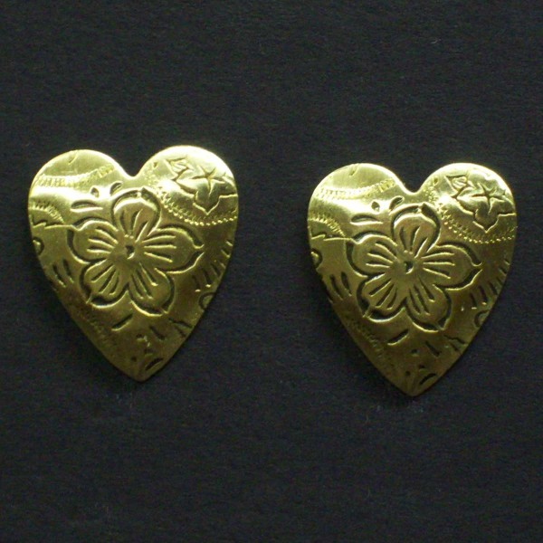 Medium Embossed Post Heart Earrings