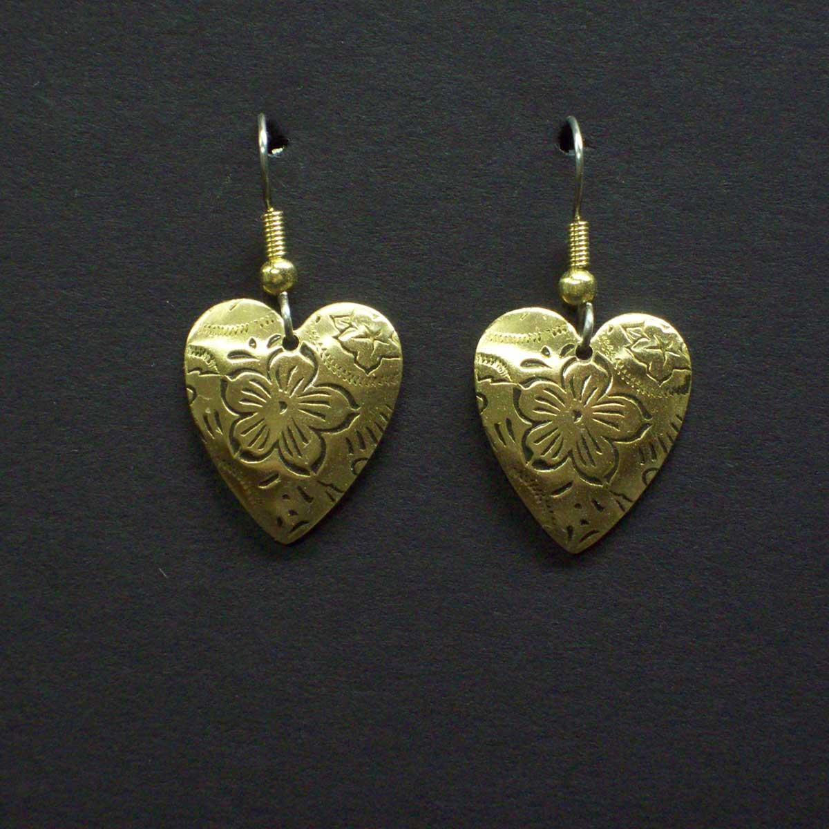 Medium Embossed Floral Heart Earrings