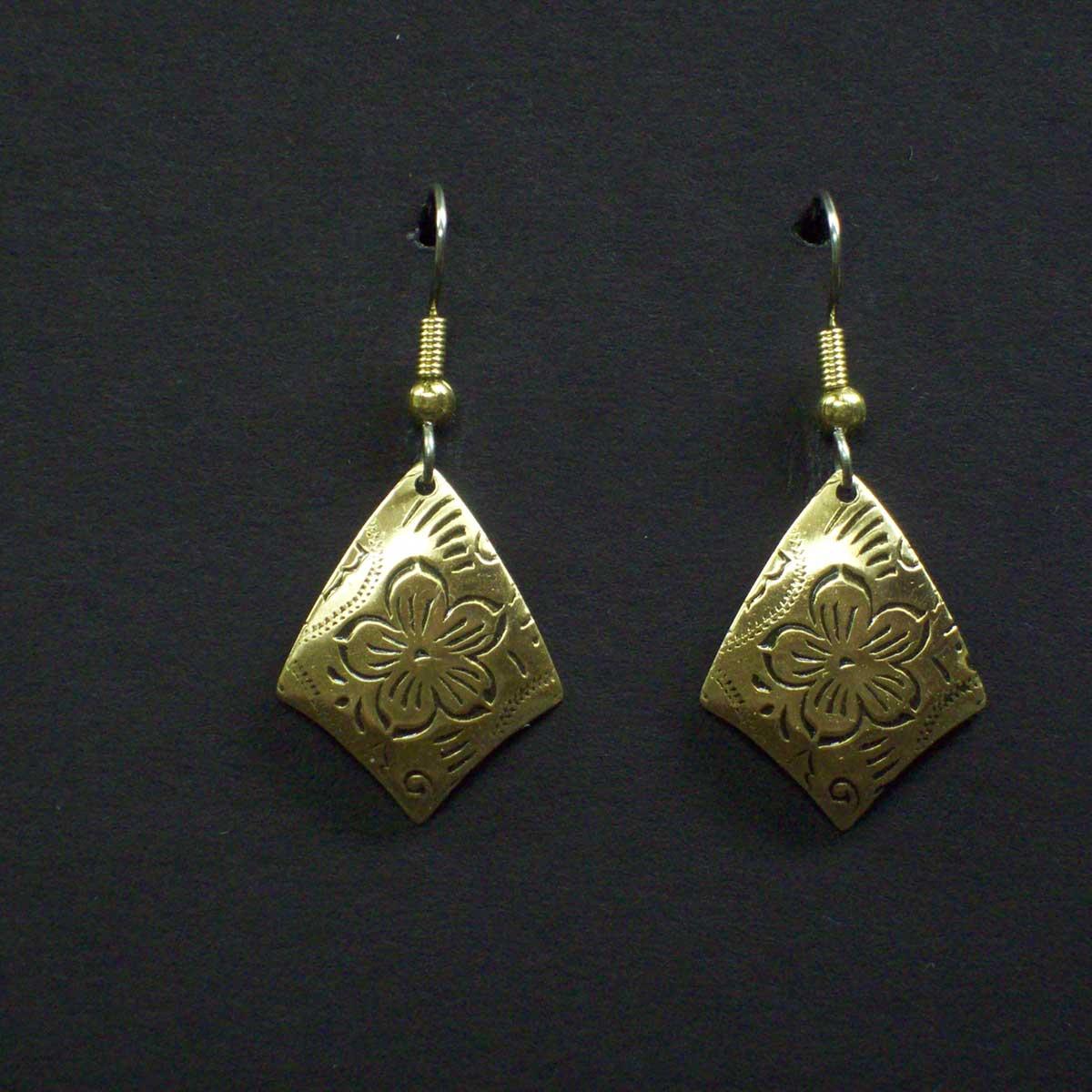Embossed Floral Shield Earrings