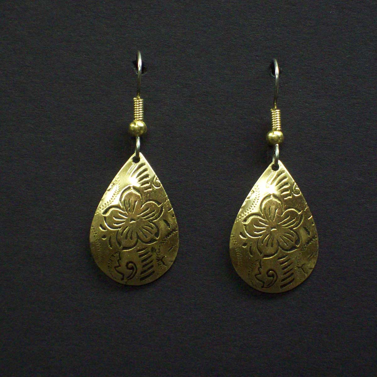 Engraved Floral Teardrop Post Earrings
