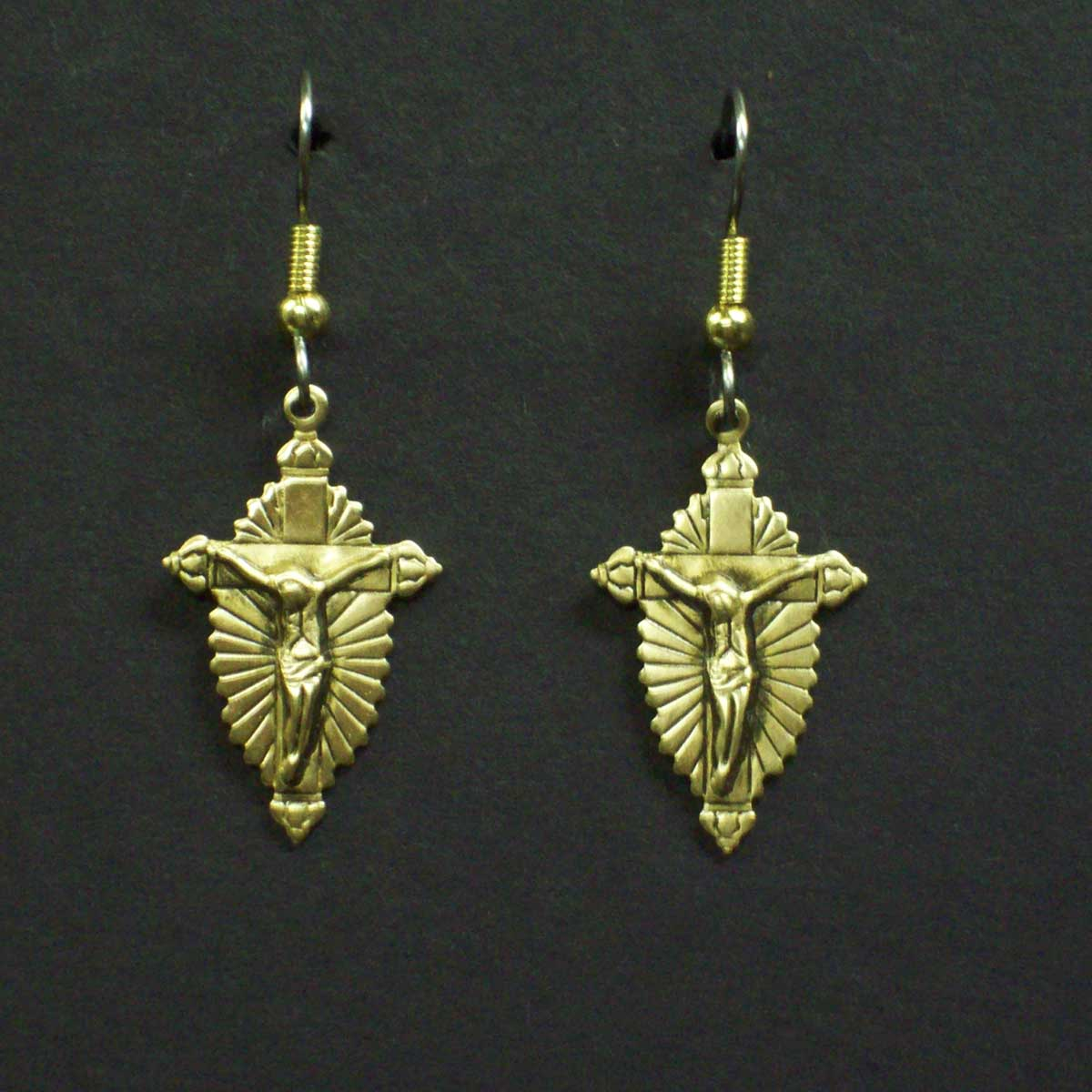 Hightlighted Crucifix Earrings