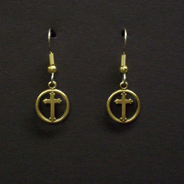 Cross in Circle Earrings