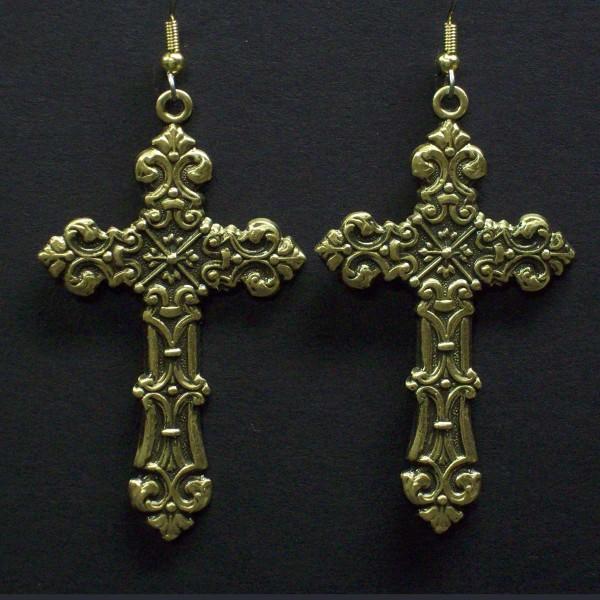 Large Celtic Style Cross Earrings