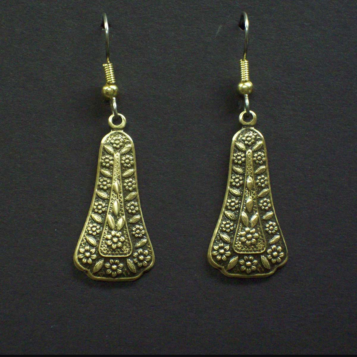 Embossed Deco Loop Earrings