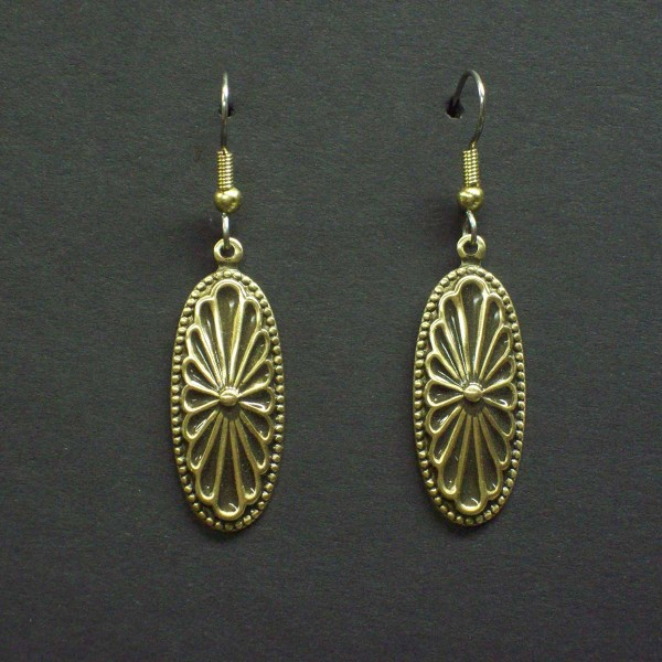 Victorian Embossed Oval Earrings