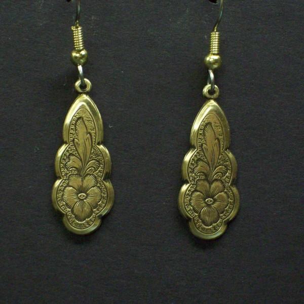 Victorian Flower Engraved Earrings