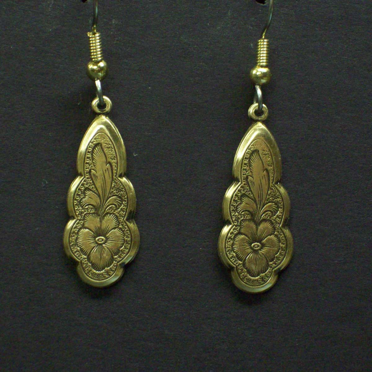 Victorian Flower Engraved Earrings