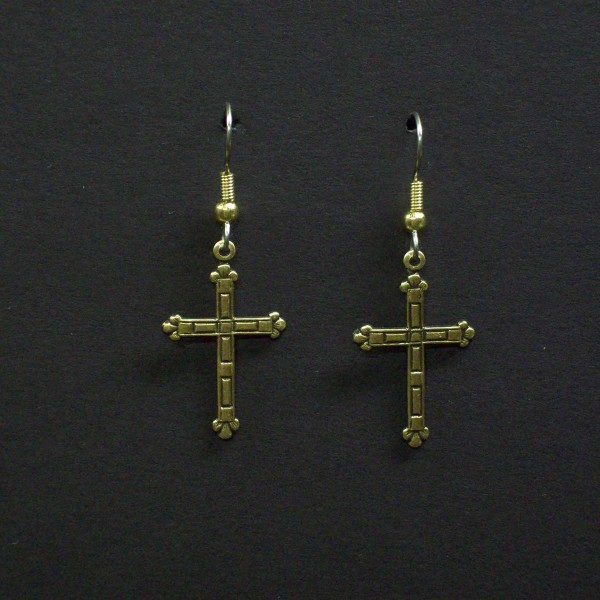 Medium Fancy Embossed Cross Earrings