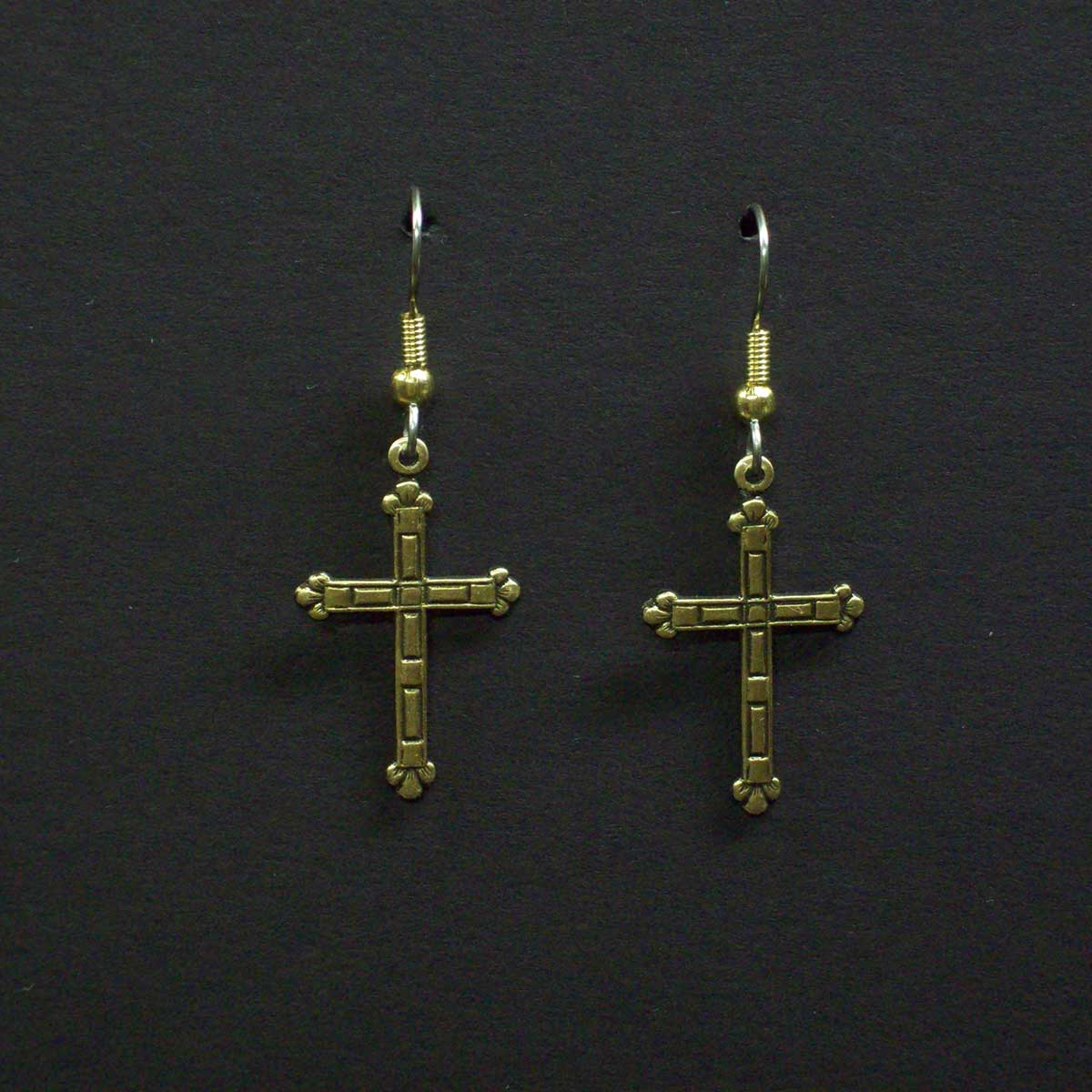 Medium Fancy Embossed Cross Earrings