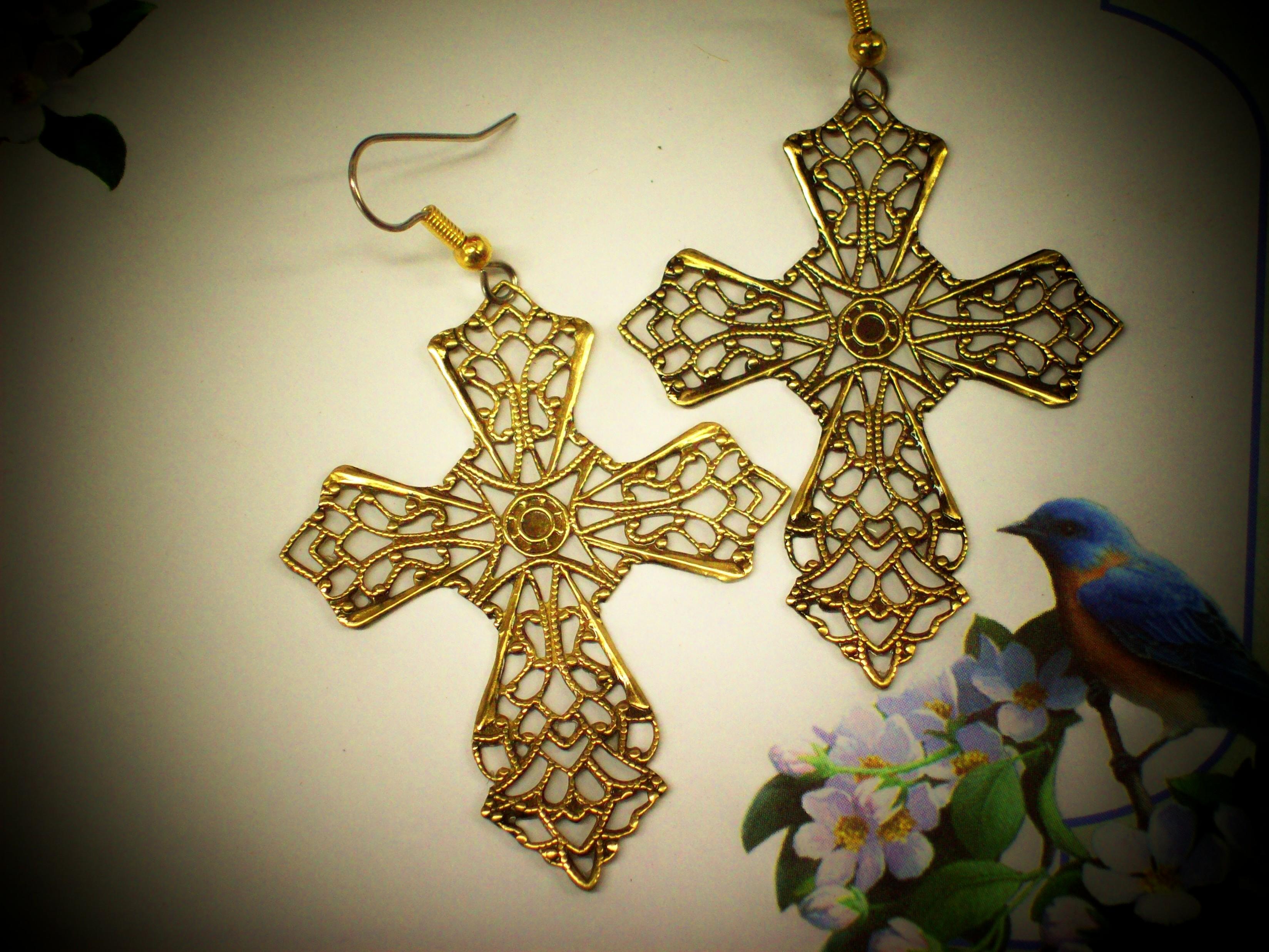 9f4225342 Large Celtic Filigree Cross Earrings